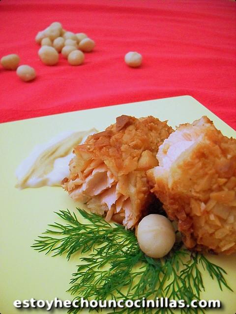 Lomos de salmón recubiertos de costra de nueces de macadamia