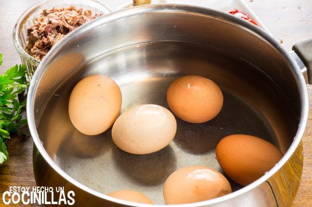 Huevos rellenos de atún (cocer)