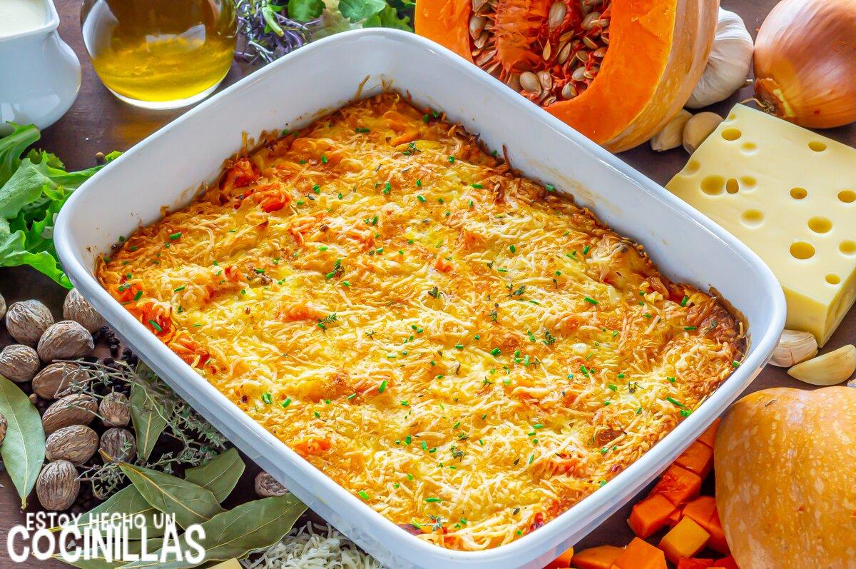 Calabaza gratinada con queso al horno