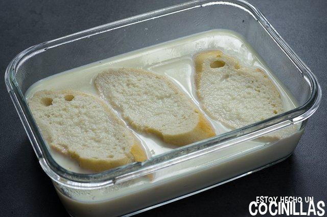 Torrijas de leche con azúcar y canela (remojar)