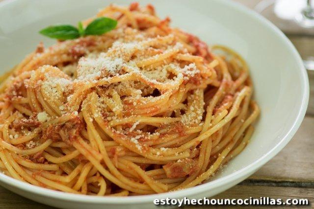 Receta de espaguetis con atún