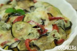 Verduras gratinadas al gorgonzola