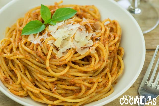 Receta De Espaguetis Al Pesto Rojo De Tomates Secos