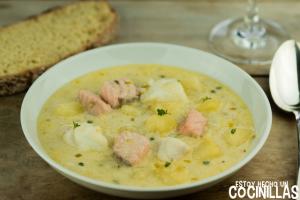 Sopa de pescado irlandesa (fish chowder)