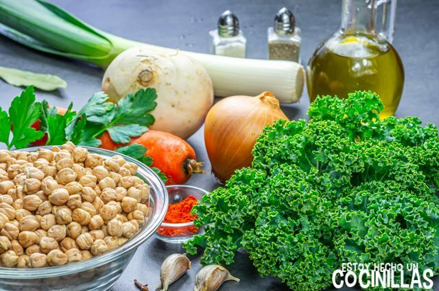 Garbanzos con kale (ingredientes)