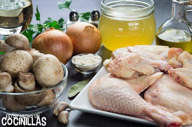 Pollo en salsa con champiñones (ingredientes)
