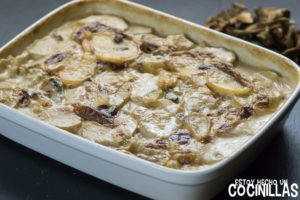 Patatas gratinadas con boletus estilo gratin dauphinois