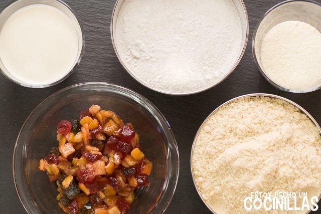 Turrón de nata con fruta confitada (ingredientes)