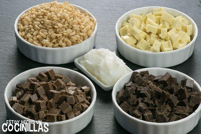 Turrón tres chocolates (ingredientes)