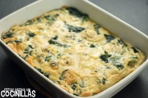 Clafoutis de espinacas y queso gorgonzola