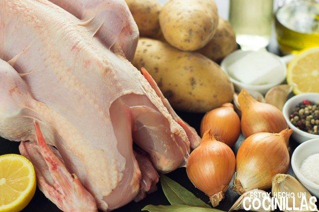 Pollo al horno con patatas panaderas (ingredientes)