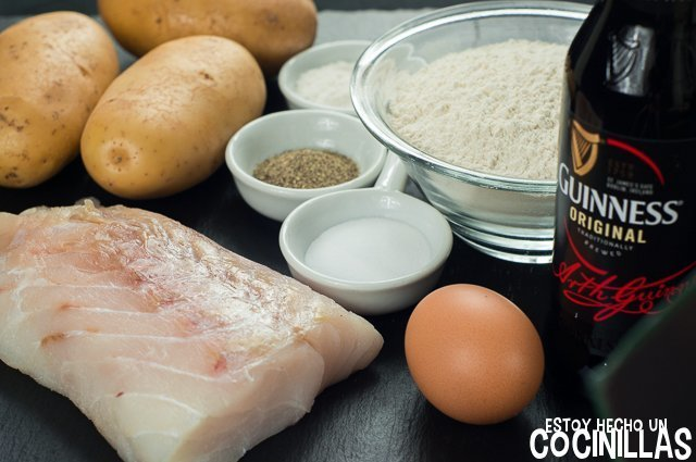 Fish and chips con rebozado Guinness (ingredientes)