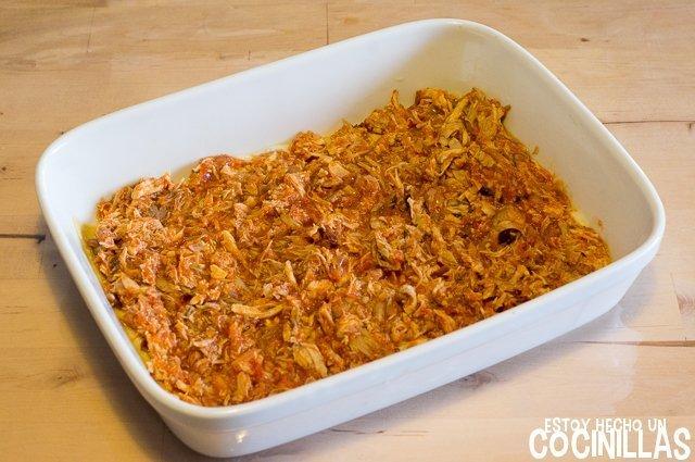 Lasaña de pollo (montaje - tomate con pollo)
