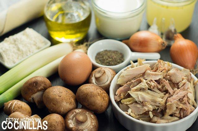 Pastel de pollo y champiñones (ingredientes)