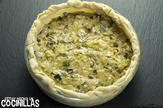 Pastel de pollo y champiñones (rellenar)