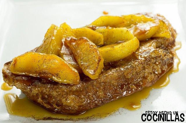 Torrijas con manzana caramelizada