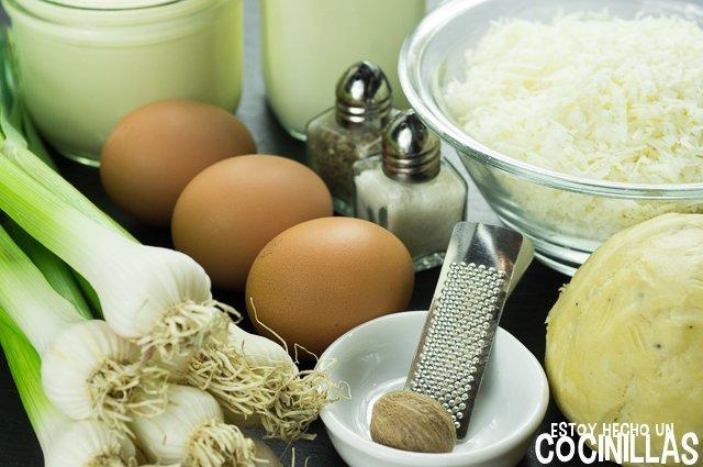 Quiche de ajos tiernos (ingredientes)