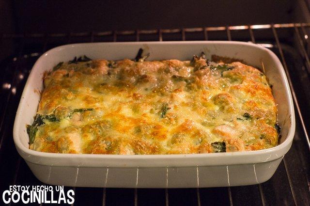 Ravioles gratinados con salmón y espinacas (reposo)