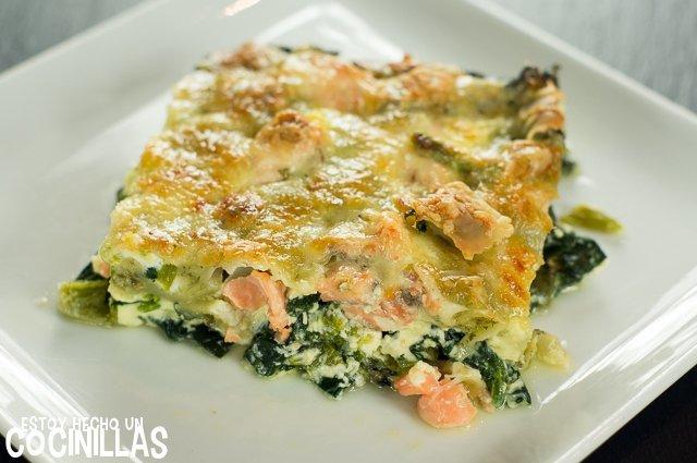 Ravioles gratinados con salmón y espinacas (plato)