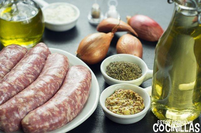 Salchichas al vino blanco y mostaza a la antigua (ingredientes)