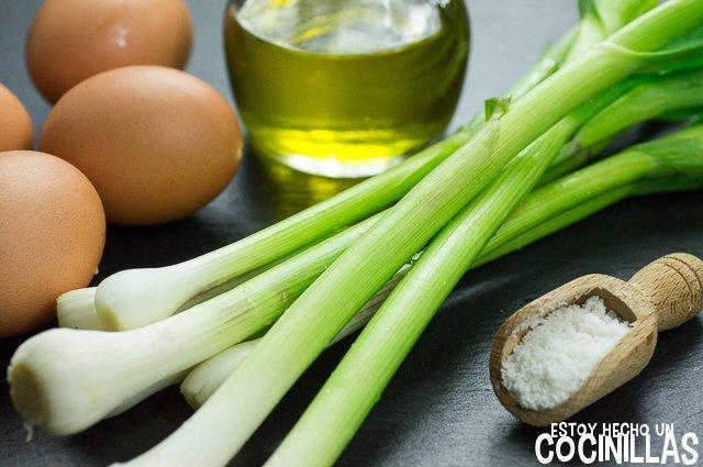Tortilla de ajos tiernos (ingredientes)