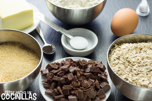 Galletas de avena con pepitas de chocolate (ingredientes)