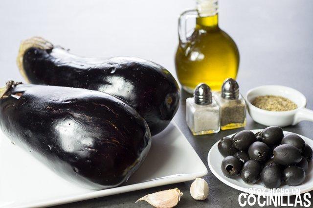 Paté de berenjena con aceitunas negras (ingredientes)
