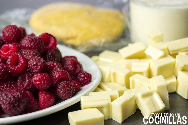 Tarta de chocolate blanco y frambuesas (ingredientes)