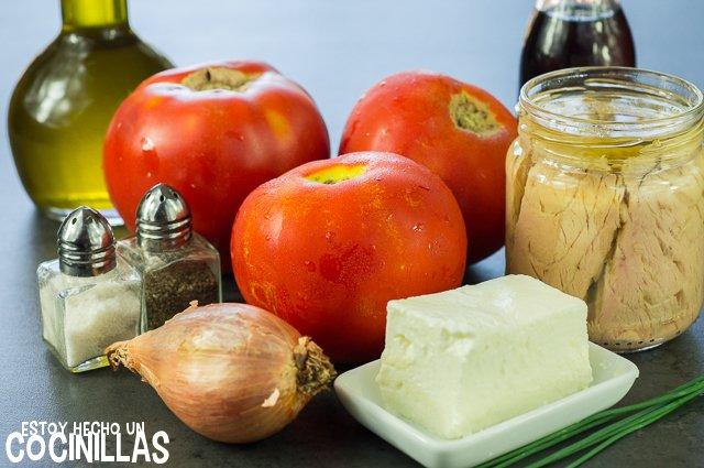Tartar de tomate con rillettes de atún (ingredientes)