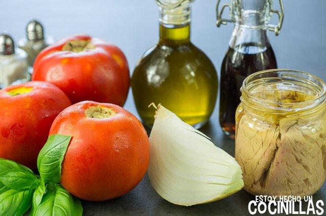 Tartar de tomate y atún (ingredientes)