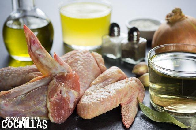 Alitas de pollo en salsa de vino blanco (ingredientes)