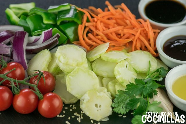 Wok de verduras con tallo de brócoli (ingredientes)