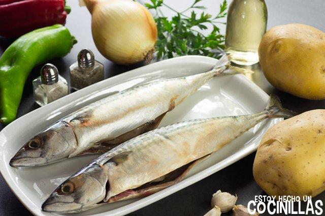 Caballa al horno con patatas y pimientos (ingrédientes)