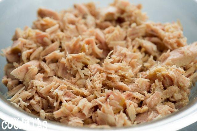 rillettes de atún con pimientos (desmigar el atún)
