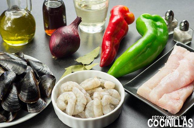 Salpicón de pescado y marisco (ingredientes)