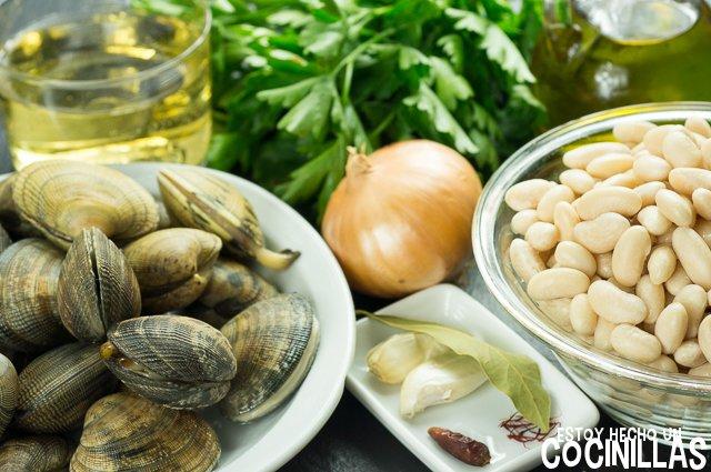 Judías blancas con almejas (ingredientes)