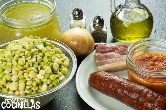 Potaje de guisantes partidos con chorizo (ingredientes)