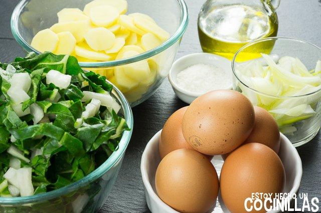 Tortilla de patatas con acelgas (ingredientes)