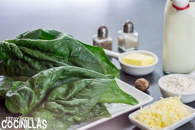 Espinacas con bechamel (ingredientes)