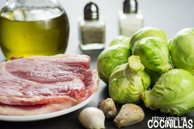 Coles de bruselas con jamón (ingredientes)