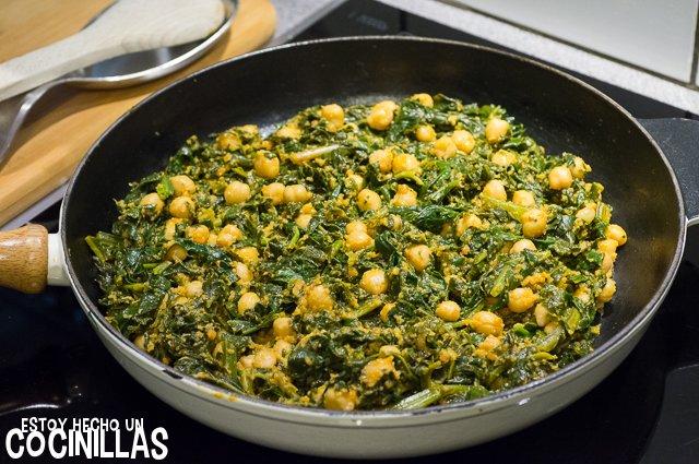 Garbanzos con espinacas (mezclar)