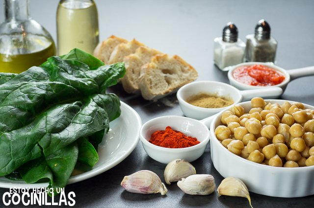 Garbanzos con espinacas (ingrédients)