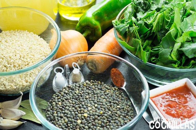 Lentejas con arroz y espinacas (ingredientes)