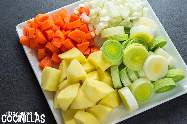 Porrusalda (verduras cortadas)