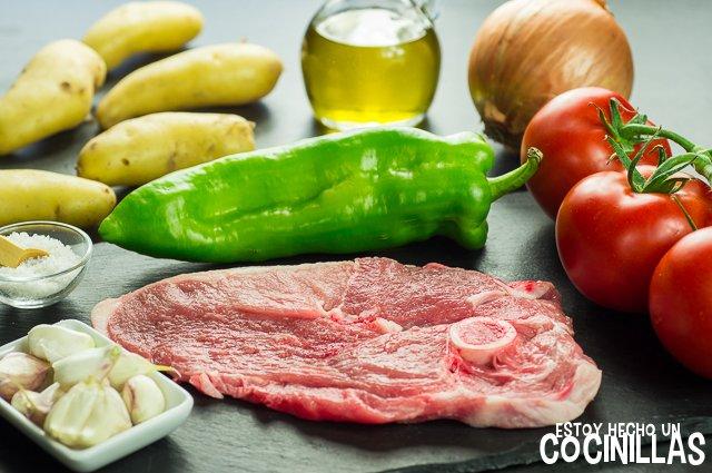 Chuletas de pierna de cordero a la parrilla con verduras (ingredientes)