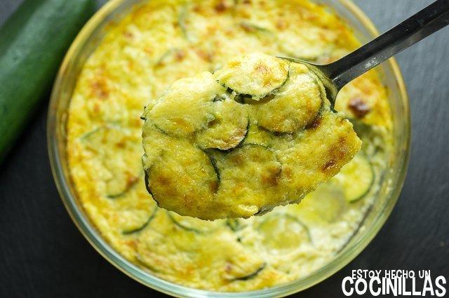 Calabacines gratinados con bechamel y queso