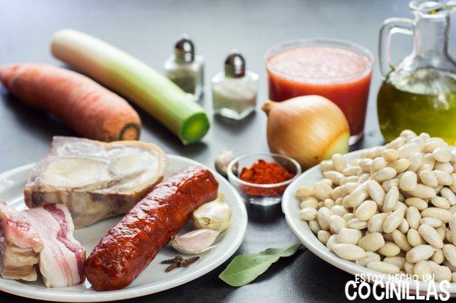 Alubias con chorizo (ingredientes)