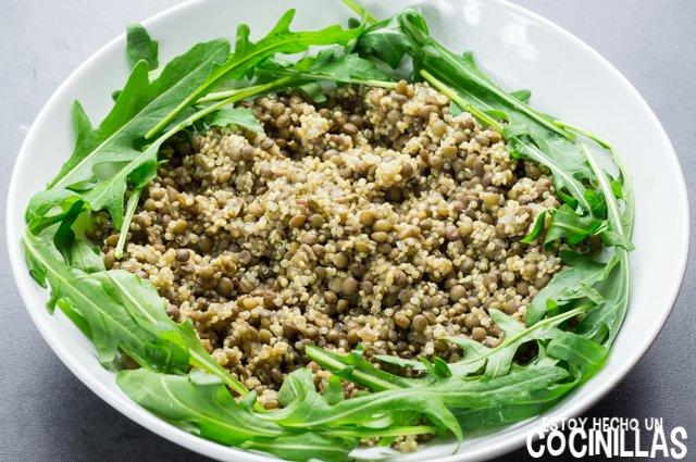 Ensalada de lentejas, quinoa y rúcula (plato)
