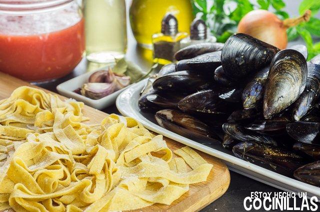 Pasta con mejillones (ingredientes)
