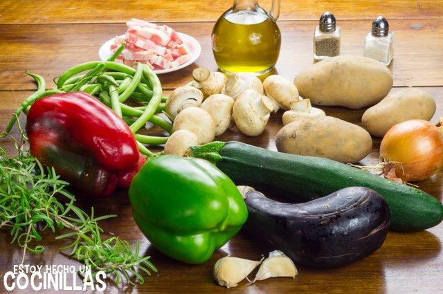 Salteado de verduras con champiñones y bacon (ingredientes)